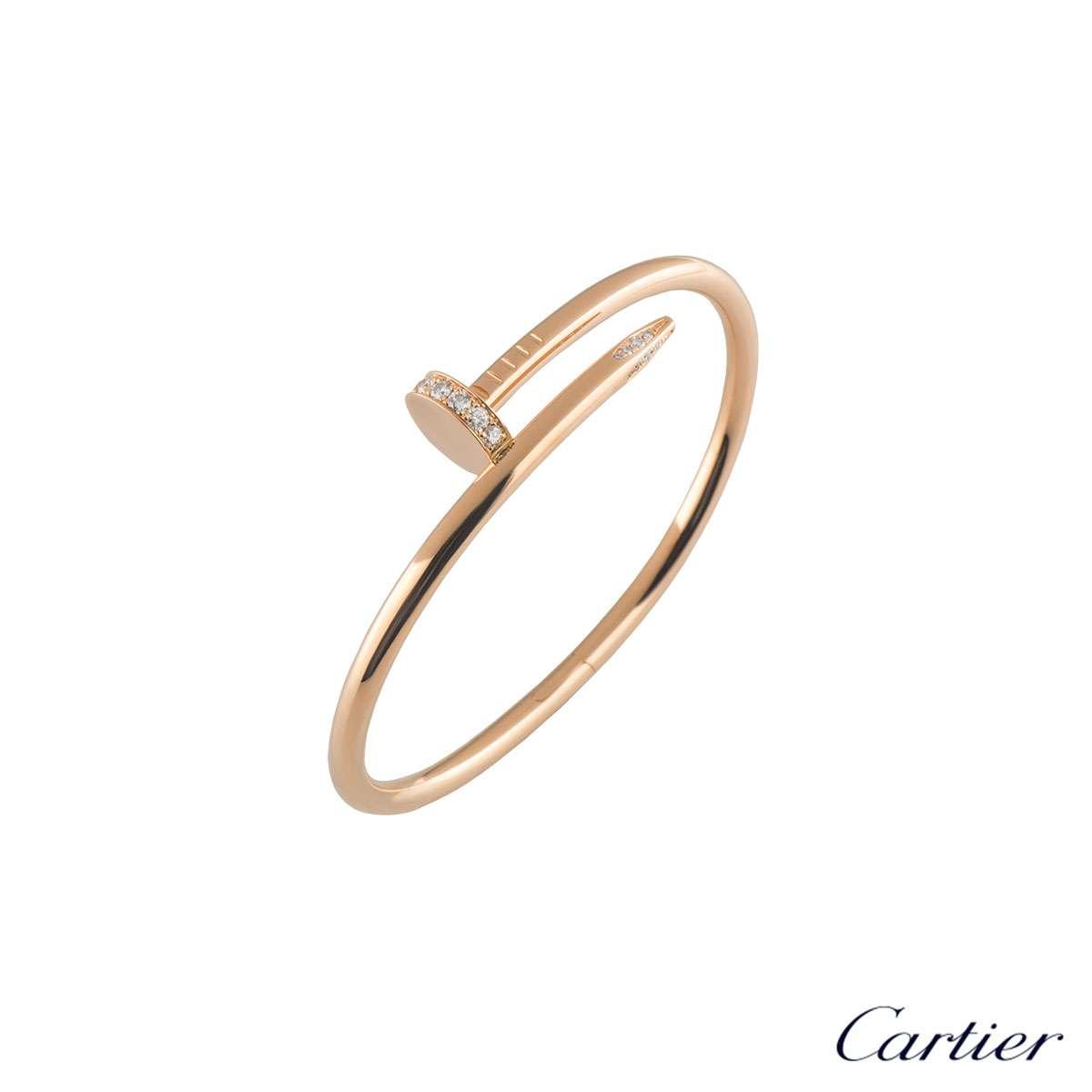 CartierRose Gold Diamond Juste Un Clou Bracelet Size 16B6039016